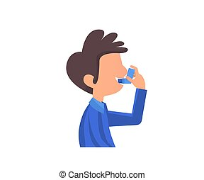 Asthma banner. Symptoms. Asthma icons. Vector set.