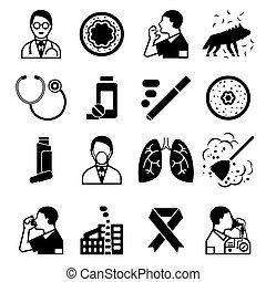 Asthma black icons set