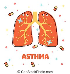 Asthma concept with cartoon lungs - Vector illustration of ...