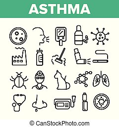 Asthma Illness Vector Thin Line Icons Set