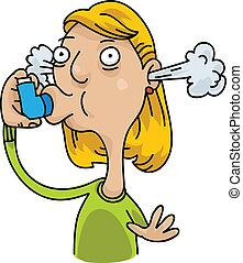 Asthma Inhaler - A cartoon woman uses her inhaler to deal...