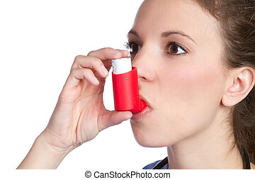 Asthma Inhaler Girl - Pretty girl holding asthma inhaler