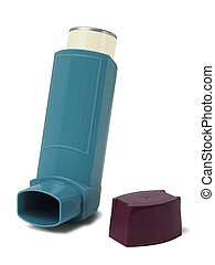 Asthma inhaler on white