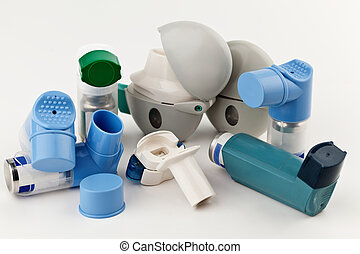 Asthma Inhalers - Close-up of asthma inhalers on white...