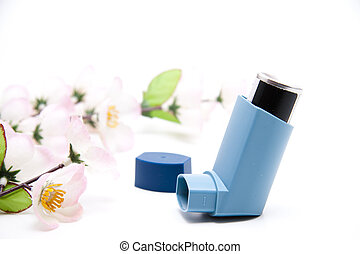 Asthma spray with flowering branch
