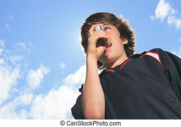 Asthma - A picture of a boy who have an asthma crisis.