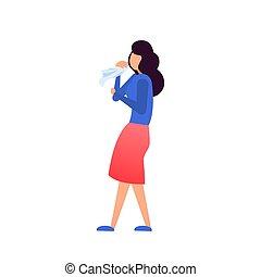 Asthma symptoms. Vector. Cartoon character.