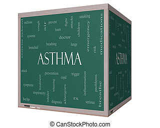 Asthma Word Cloud Concept on a 3D cube Blackboard