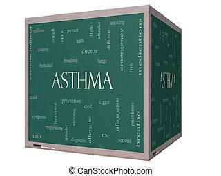 Asthma Word Cloud Concept on a 3D cube Blackboard