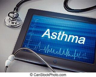 asthma word display on tablet
