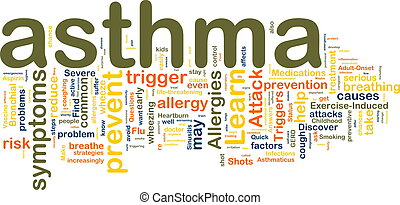Asthma wordcloud - Word cloud tags concept illustration of...