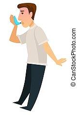 asthme, récupération, appareil, utilisation inhalateur, homme