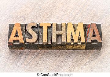 asthme, résumé, bois, mot, type