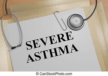 asthme, sévère, concept, -, monde médical