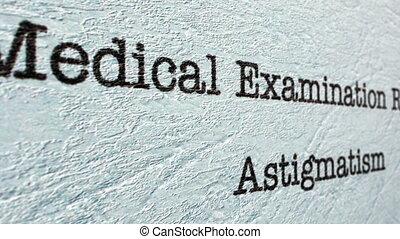 Astigmatism medical report