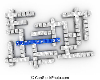 astigmatismus, begriff, wort, wolke, 3d