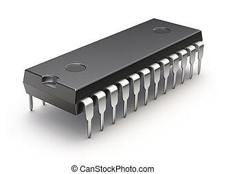 astilla, integrado, (microchip, microcircuit), plano de ...