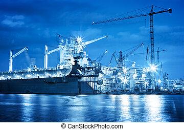 astillero, en el trabajo, barco, reparación, freight.,...