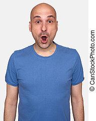 astonished bald man isolated