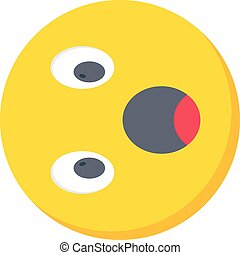 astonished vector flat colour icon