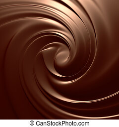 Astonishing chocolate swirl. Clean, detailed render. Backgrounds series.