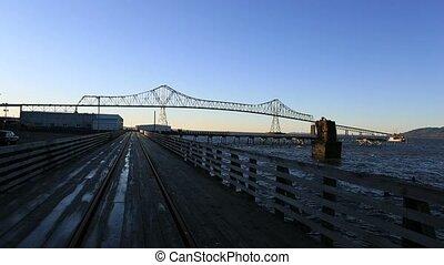 Astoria–Megler Bridge in Astoria Oregon on a Winter day...
