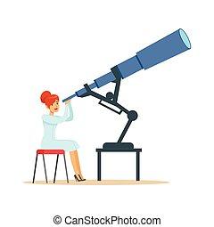 astrónomo, mirar, telescopio, mujer, por