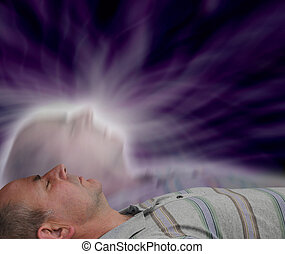 Astral Projection - Man lying with eyes closed experiencing...