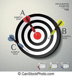 astratto, 3d, bersaglio, infographics