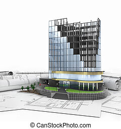 astratto, 3d, di, costruzione, sviluppo