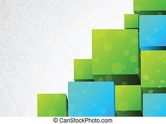astratto, 3d, fondo, con, blocco