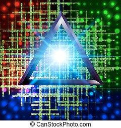 astratto, 3d, tecnologia, triangolo, tunnel, fondo.