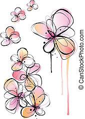 astratto, acquarello, fiori, vettore