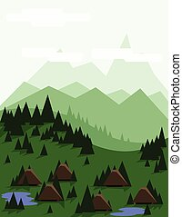 astratto, albero, paesaggio, pino