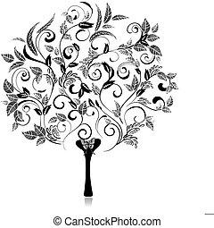 astratto, albero, romantico, capriccio