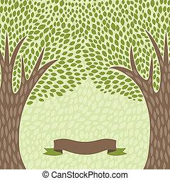 astratto, albero, stilizzato, retro, fondo, style.