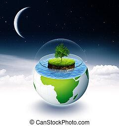 astratto, ambientale, sfondi, con, terra, isola, e, albero