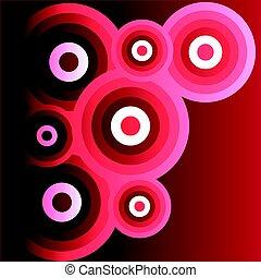 astratto, anelli, isolato, sfondo nero, red-