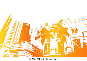 astratto, arancia, vita, moderno, città, trendy