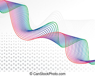 astratto, arcobaleno, colore, basato, onda, linee, vettore,...