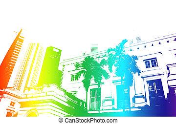 astratto, arcobaleno, vita, moderno, città, trendy