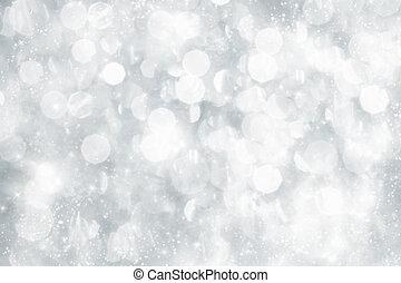 astratto, argento, natale, fondo, con, bianco, fiocchi neve