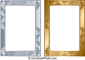 astratto, argento, oro, cornice