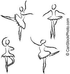 astratto, ballerini, set, balletto