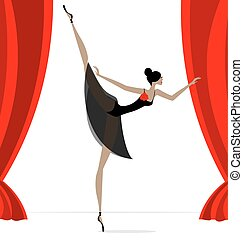 astratto, ballerino, nero, balletto