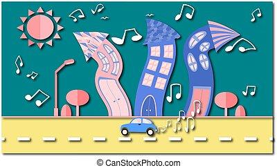 astratto, ballo, città, in, uno, appartamento, stile, con, uno, uggia, con, uno, vinile, piastra, instead, di, il, sole, con, curvo, case, con, note, con, albero, con, uno, strada, e, automobile, nubi, su, uno, blu, fondo., vettore, illustrazione