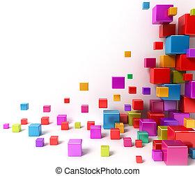 astratto, baluginante, boxes., colorito