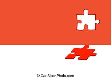 astratto, bianco rosso, fondo, puzzle