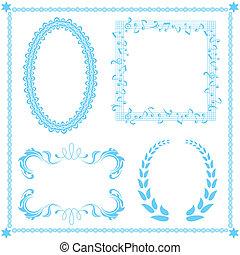 astratto, blu, cornice, set