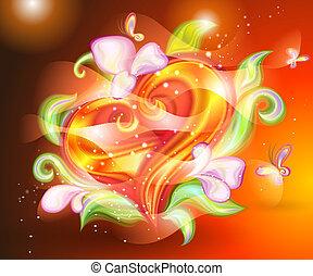 astratto, caldo, cuore, con, floreale, indietro